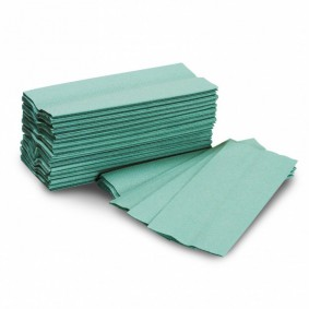 1 Ply Green C-fold Hand Towels